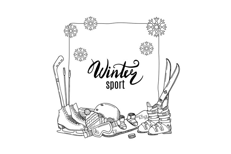 Vector hand drawn winter sports equipment elements example image 1