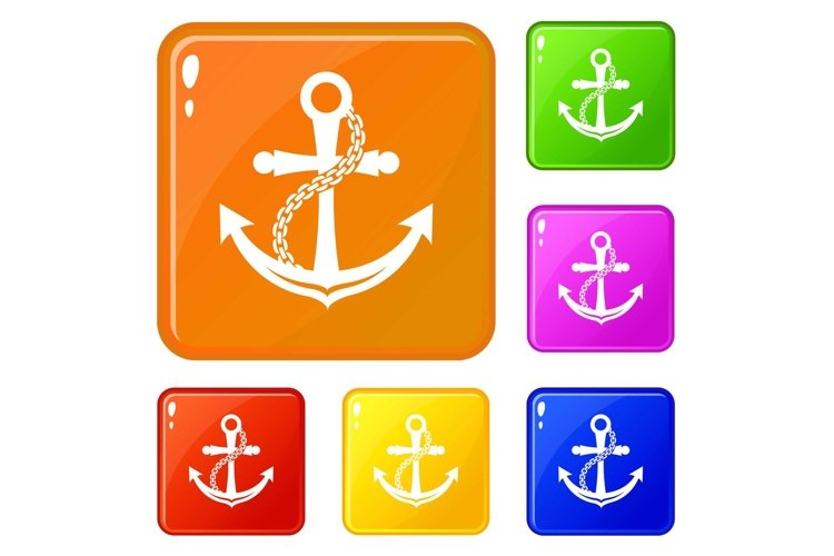 Anchor icons set vector color example image 1