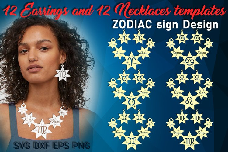 Zodiac necklace svg bundle Leather zodiac earrings jewelry