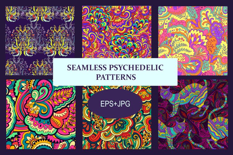 Seamless psychedelic bundle. 6 colorful psychedelic patterns