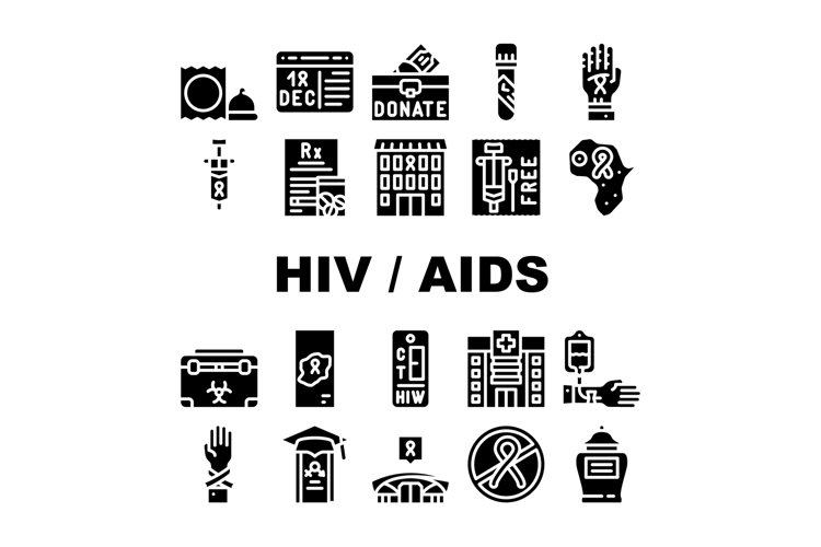 Hiv And Aids Disease Collection Icons Set Vector example image 1