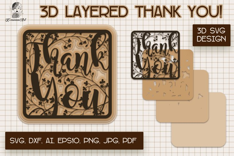 Thank You Paper cut SVG, 3d layered Card, 3d Card Gift SVG