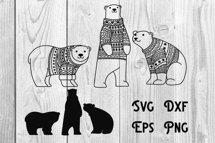 polar bear sweater winter, polar svg example image 1