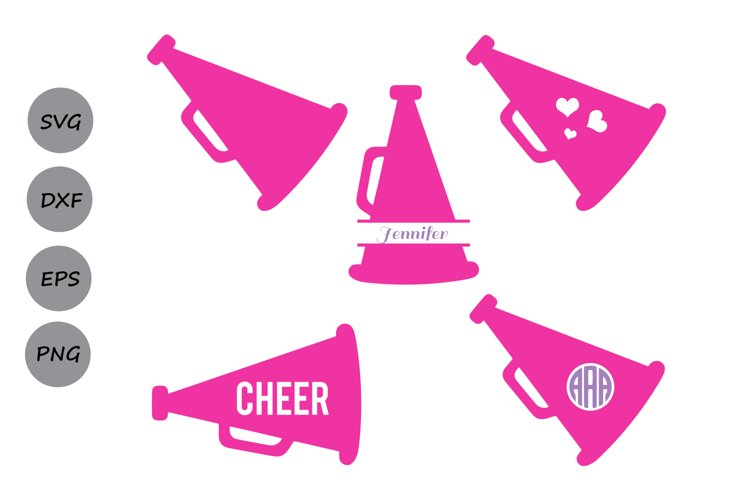 Cheer Megaphone SVG Cut Files, Cheer Monogram Svg.