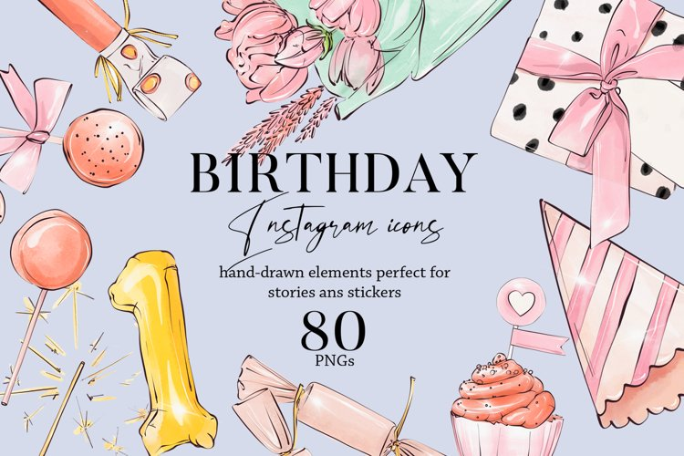 Happy birthday icons set Party Instagram highlight cover PNG example image 1