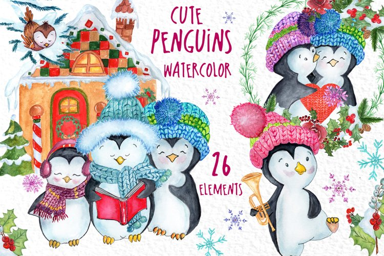 Cute Watercolor Penguins clipart example image 1
