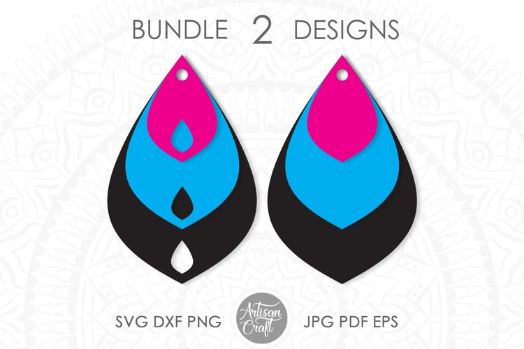 Stacked Earring, SVG, Teardrop earring, leather jewelry