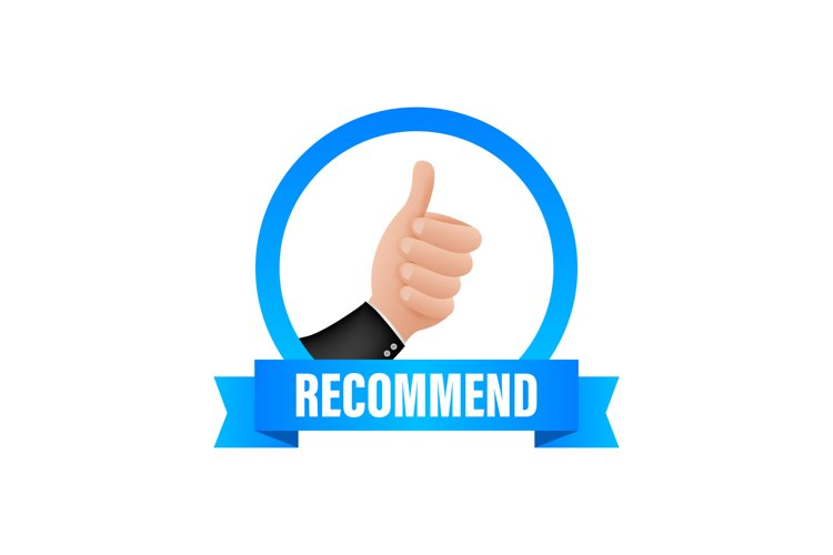 Recommend icon. White label recommended on blue background. example image 1