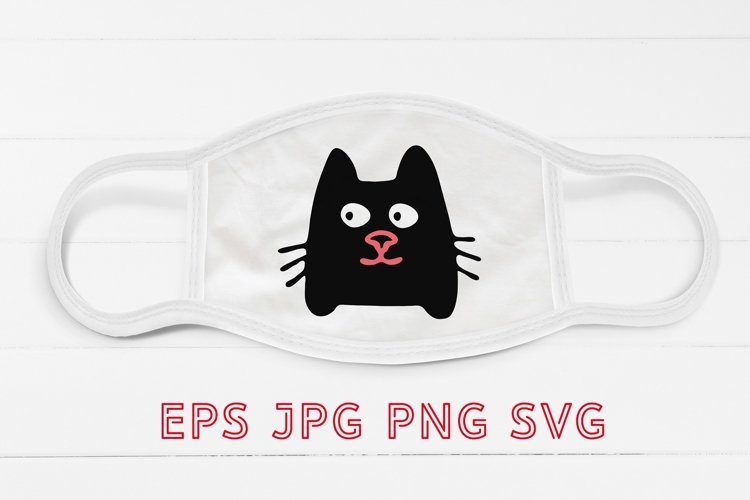 Face mask design, halloween cat SVG Sublimation example image 1