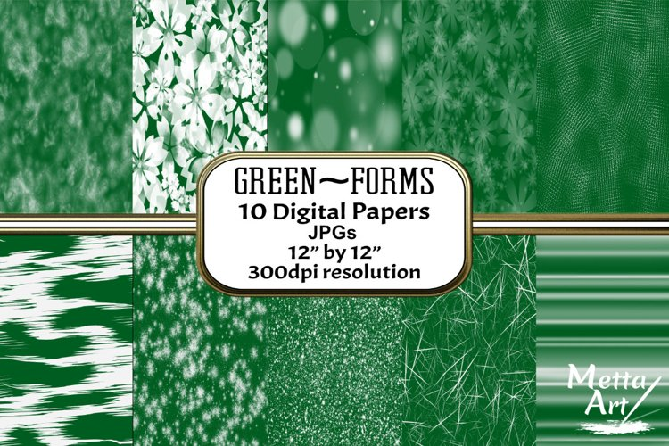 Green Forms - 10 Digital Papers/Backgrounds example image 1