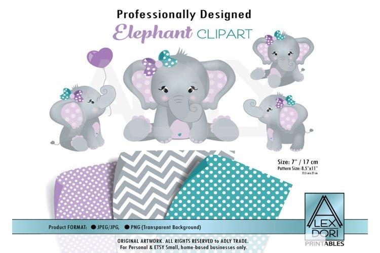 Purple Teal elephant clip art for baby girl shower