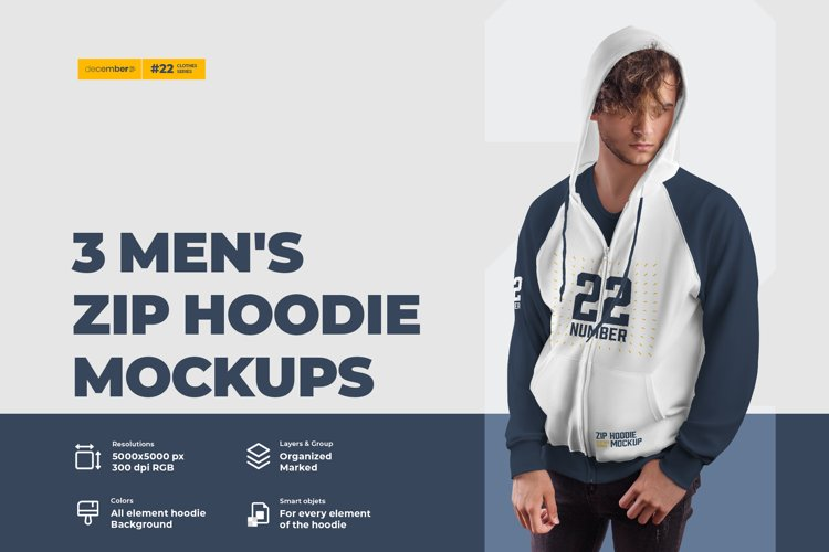 3 Men's Zip Hoodie Mockups example image 1