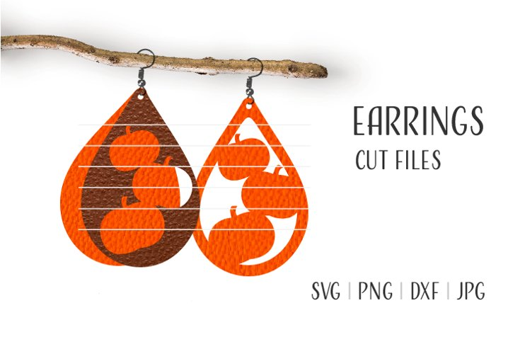Pumpkins Earrings Svg / Leather / Faux / Wood / Laser Cut example image 1