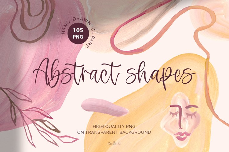 Abstract Shapes Clipart. Modern Splashes and Line Art, PNG