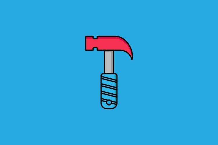 hammer filled outline Icon. construction and tool vector example image 1