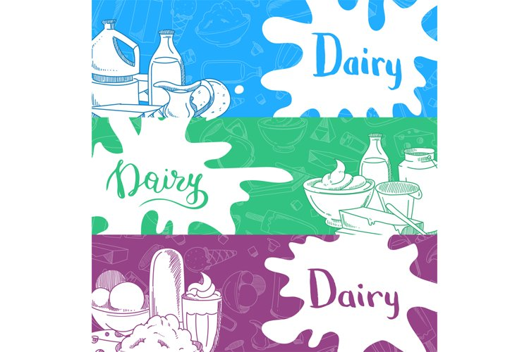 Vector banners with lettering and hand drawn dairy products example image 1
