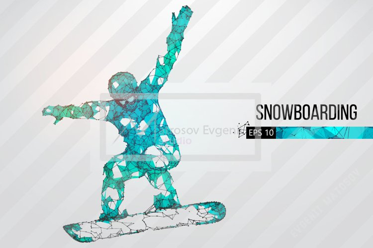 Silhouettes of a snowboarder, AI, EPS, PNG example image 1