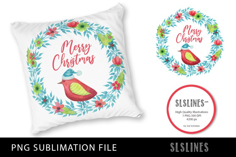 Merry Christmas Bird Wreath PNG sublimation example image 1