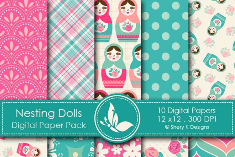 Nesting Dolls Paper Pack - 10 Printable Digital Scrapbooking papers - 12 x12 - 300 DPI
