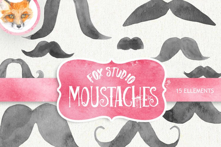Mustache watercolor clipart, moustache printable, french example image 1