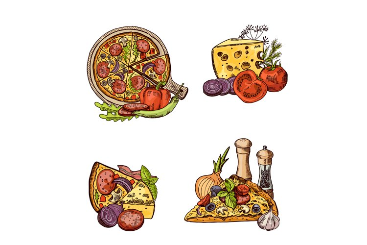 Vector colored hand drawn italian pizza, vegetables and chee example image 1