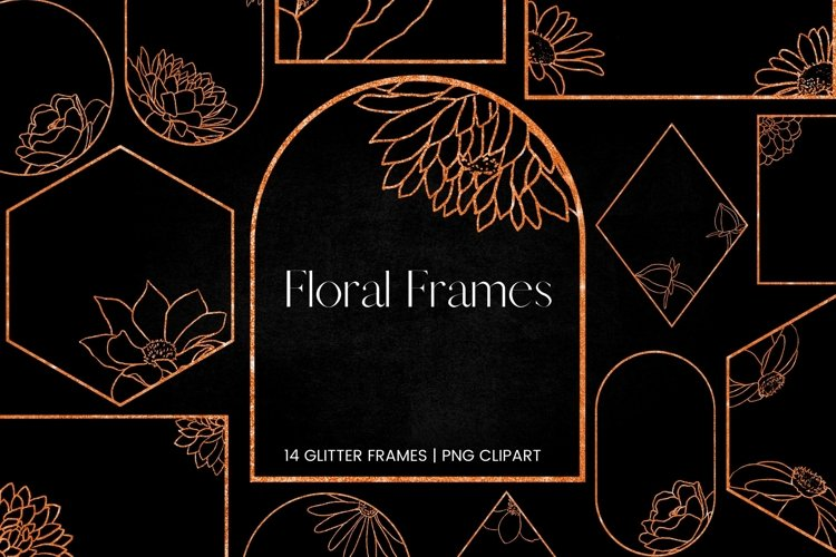 Copper Glitter Floral Frames Clipart