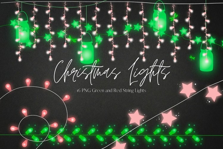 Christmas Mason Jars String Lights Clipart