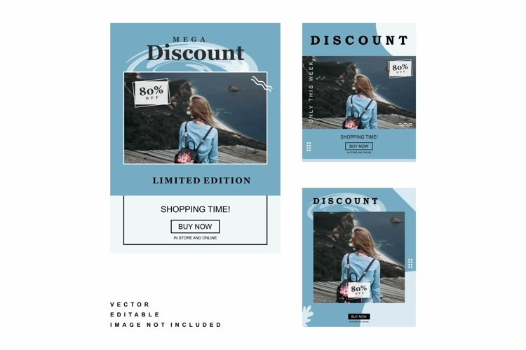 discount media post color blue example image 1