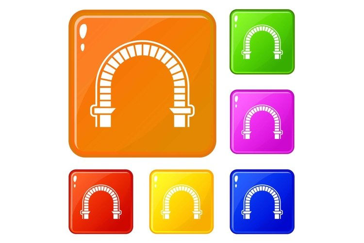 Arch column icons set vector color example image 1