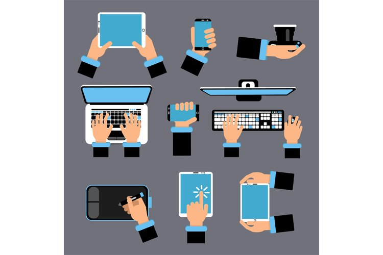 Hands holding different computer devices. Laptop, smartphone example image 1