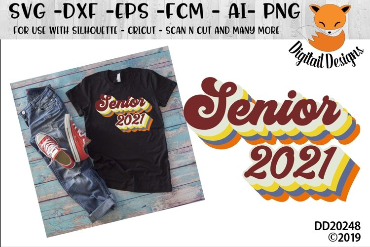 Retro Senior 2021 SVG Bubble Letters example image 1