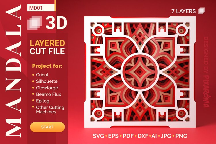 Mandala MD01 3D Layered SVG Cut File