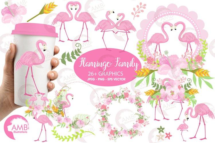 Flamingos clipart mega pack, graphics, illustrations AMB-1047 example image 1