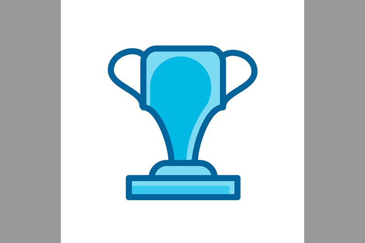 trophy, achievement symbol flat blue color, Vector Illustrat example image 1