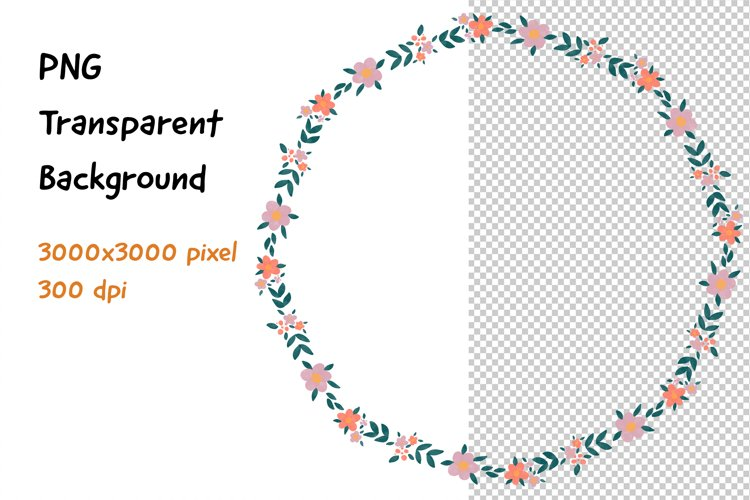 Wreath Frame Watercolor PNG PNG and JPEG example image 1