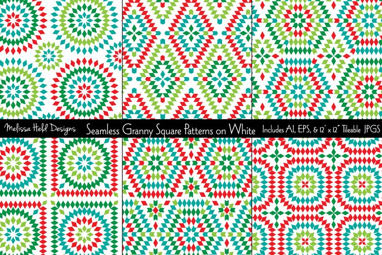Seamless Granny Square Patterns example image 1