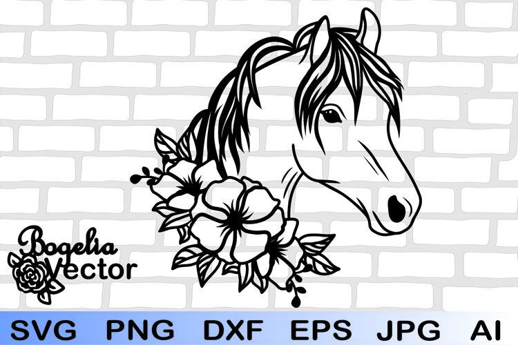 Horse Floral Svg, Horse Clipart, Horse Vector, Horse Png