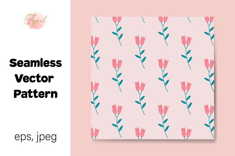 Pink Lily Flowers Digital Paper, Seamless Pattern example image 1
