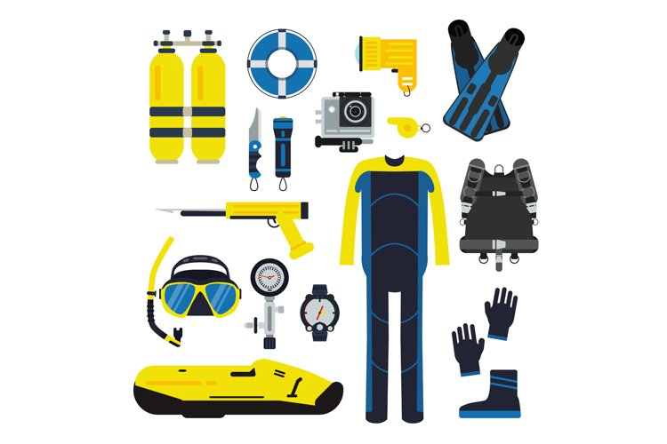 Diver and set elements for underwater sport. Illustrations o