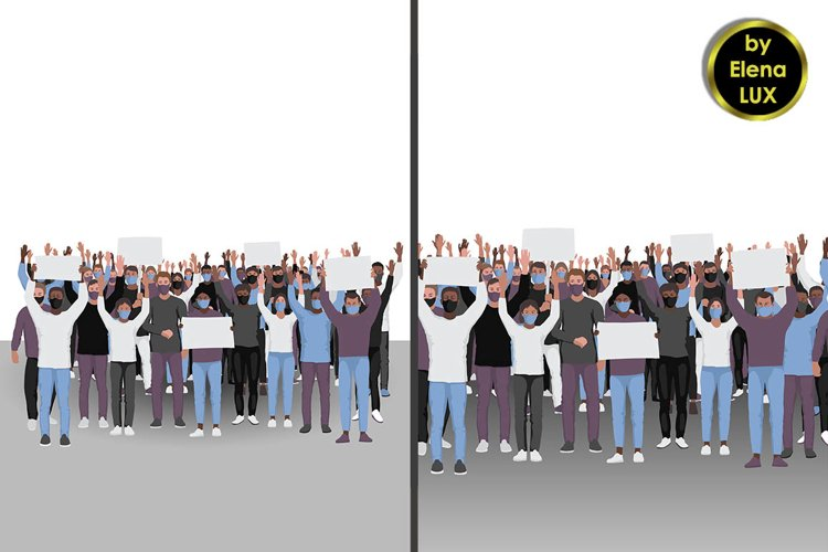 Protesting people and Seamless pattern example image 1