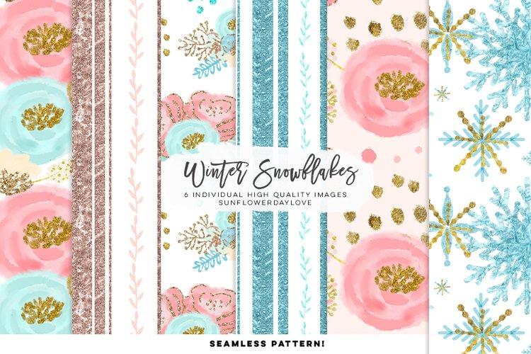 Winter Snowflakes Digital Paper example image 1