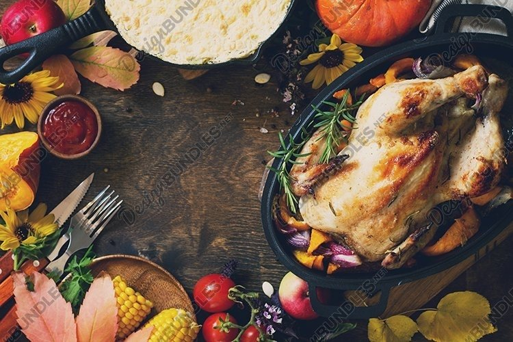 Thanksgiving Homemade dinner table. example image 1