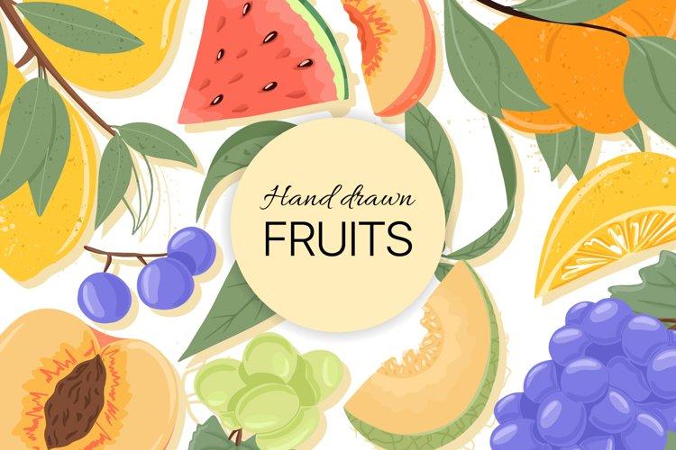 Hand drawn fruits vector set example image 1