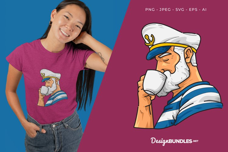 Seaman Drinks A Coffee Vector Illustration For T-Shirt