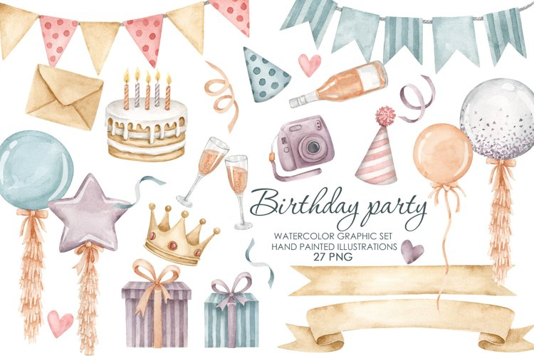 Watercolor Birthday Party Clipart. Balloons, bunting clipart