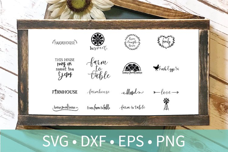 Farmhouse Sign Bundle SVG PNG DXF and EPS Cut Files example image 1