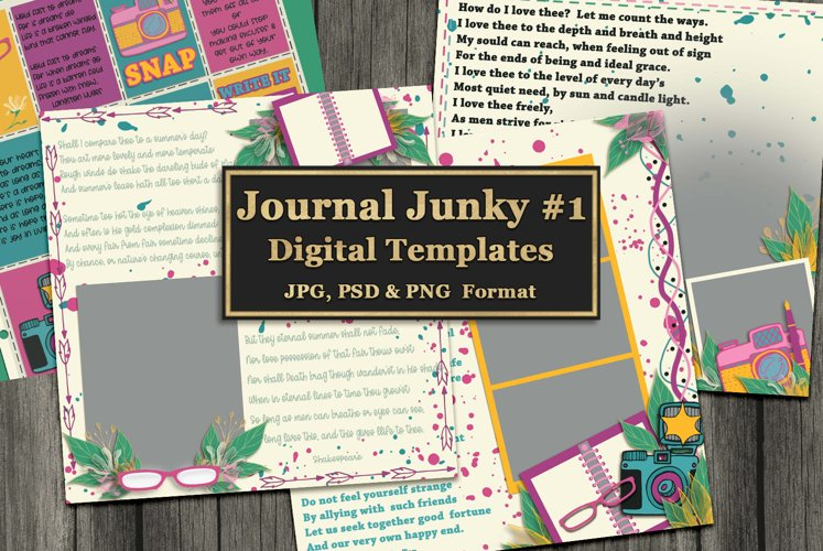 Journal Junky Digital Scrapbooking Templates example image 1