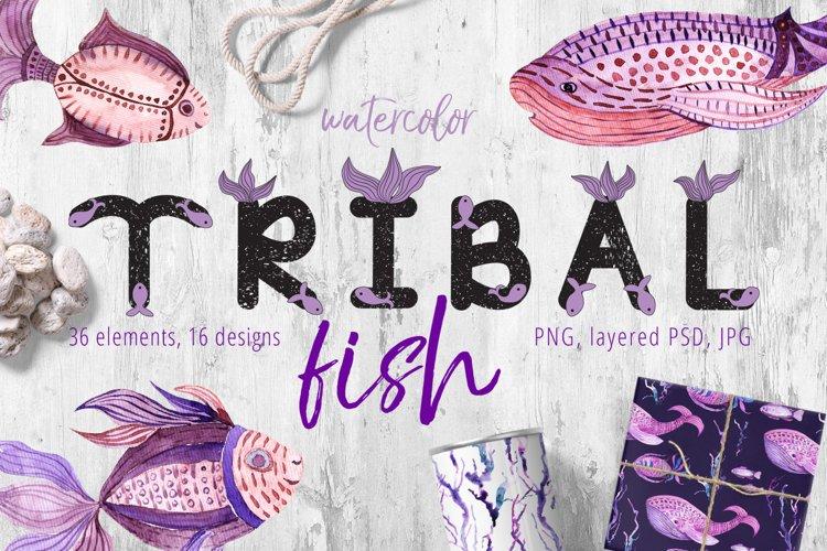 Tribal Fish - watercolor set example image 1