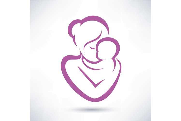mom and baby stylized vector symbol example image 1