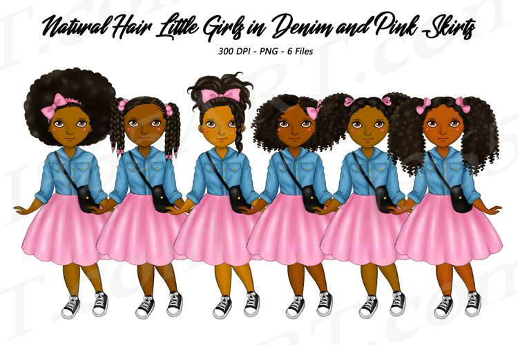 Little Black Girls Clipart Denim and Pink Skirts PNG
